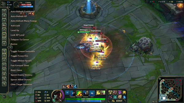 player using league of legends practice tool